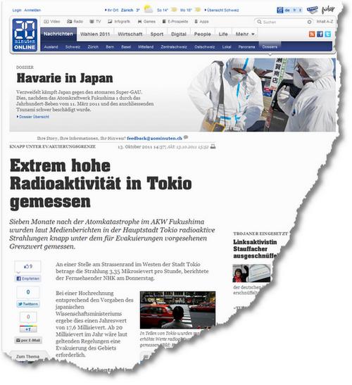 20 Minuten Online - Extrem hohe Radioaktivität in Tokio gemessen - News 1318694936214