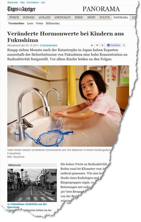 Veränderte Hormonwerte bei Kindern aus Fukushima - News Panorama- Vermischtes - tagesanzeiger
