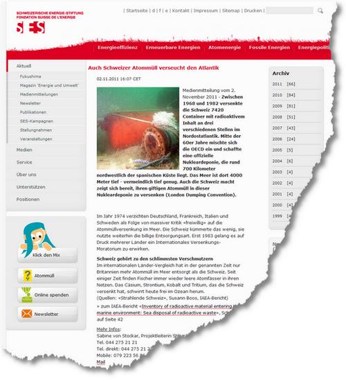 Schweizerische Energie-Stiftung -- Auch Schweizer Atommüll verseucht den Atlantik 1320252090949