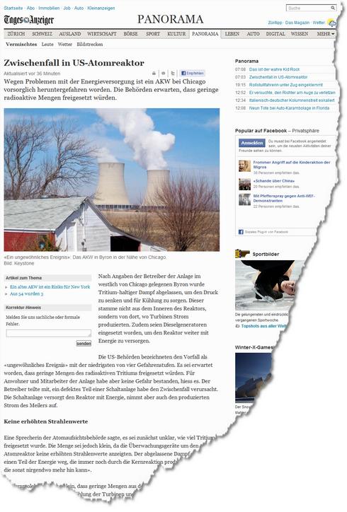 Zwischenfall in US Atomreaktor News Panorama Vermischtes tagesanzeiger