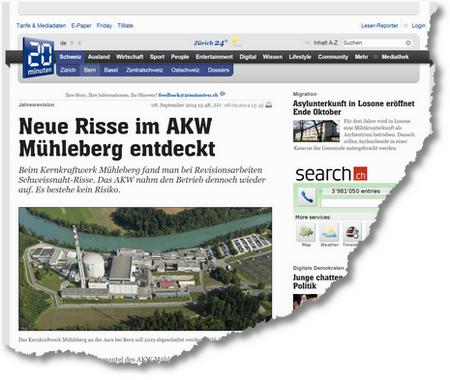 20 Minuten Neue Risse im AKW Mühleberg entdeckt Bern
