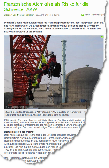 Französische Atomkrise als Risiko für die Schweizer AKW Greenpeace Schweiz