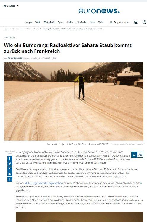 Wie ein Bumerang: Radioaktiver Sahara-Staub kommt zurück nach Frankreich Euronews Artikel